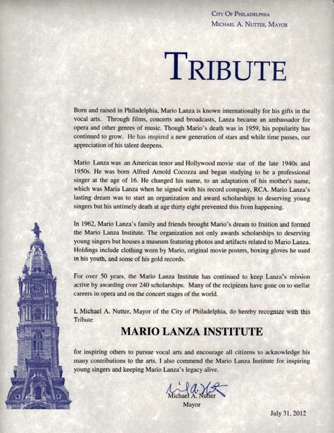 Mayor & City celebrate 50th anniversary of the Mario Lanza Institute